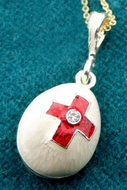 Enameled Egg Pendant with Red Cross, Sterling Silver, Gold Plated