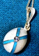 Enameled Egg Pendant with St. Andrew Cross, Sterling Silver, Gold Plated