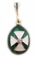 Enameled Egg Pendant with White Cross, Sterling Silver, Gold Plated