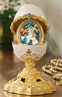 Enameled Egg with Jeweled Icon Ornament, Faberge Style