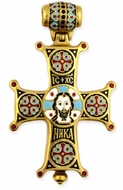 "Enameled Sterling Silver Gold Plated Cross Locked Relic ""Face of Christ"""