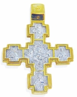 Engraved Reversible Orthodox  ANGELS' Cross, Byzantine Style Bail