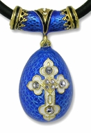 Faberge Style Egg Pendant Egg with Gold/Stones and Chain