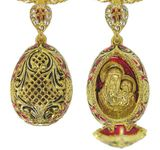 Faberge Style Egg Pendant Locket with Virgin Mary