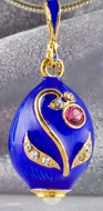 Faberge Style Egg Pendant, Sterling Silver 925 Gold Plated