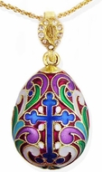 Faberge Style Egg Pendant With Cross & Fleur De Lis
