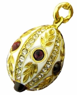 Faberge Style Egg Pendant With Garnet Stones, Sterling Silver 925 Gold Plated