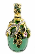 Faberge Style Egg Pendant with Green Topaz,  Sterling Silver, Gold Finish