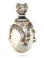 Faberge Style Egg Pendant with Pearl, Sterling Silver 925