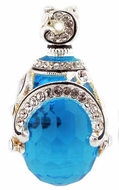 Faberge Style Egg Pendant with Sapphire, Sterling Silver 925