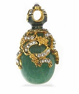 Faberge Style Egg Pendant  wwith Jade (Nefrit), Sterling Silver, Gold Finish