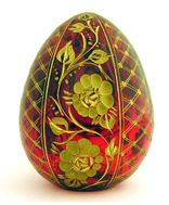 Faberge Style Floral Design Crystal Egg,  Red