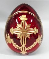 Faberge Style Crystal Egg with Cross, Burgundy