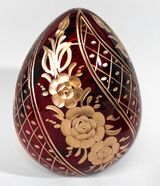 Faberge Style Imperial Crystal  Egg, Floral Design, Red