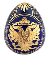 Imperial Crystal  Egg with Double Headed Eagle / Romanov Dynasty Sign