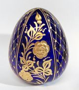Faberge Style Crystal Egg with Assorted Floral Design,  Dark Blue