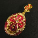 Faberge Style Pendant Egg Sterling Silver, Gold Plated