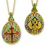 Faberge Style Pendant Egg,  Sterling Silver Gold Plated, with Chain