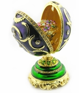 Faberge Style Presentation  Egg With Surprise, Purple