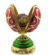 Faberge Style Presentation  Egg With Surprise, Red