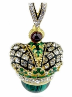After Romanov's Royal Crown Shape Pendant Egg with Malachite Stone