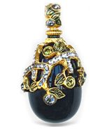 """Fairy Tail Berries""  Design, Sterling Silver w/Gold Pendant Egg with Onyx Stone"