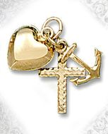 """Faith, Hope & Charity"", Set of 14 KT Gold Puffed Heart Cross & Anchor"