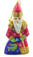 Father Frost Wooden Ornament, Hand Painted, Hand Carved