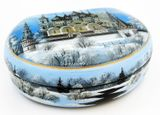 Fedoskino Hand Painted Lacquered Box with Mother of Pearl  Details
