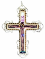Filigree Cross, with Enamel (Finift) Corpus Crucifix, Hand Painted
