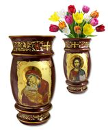 Ceramic Icon Vase Virgin Mary and Christ