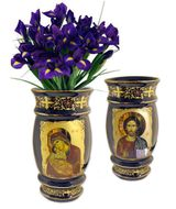 Ceramic Icon Vase Virgin Mary and  Christ  Icons, 24K Gold Decorated