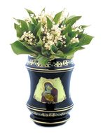 Flower Icon Vase with Virgin Mary Icon, Black and Gold