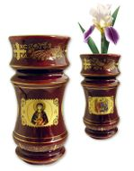 Flower Vase, Red with Icons