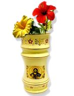 Flower Vase with Icons of  Christ The Teacher, Cream