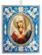 Virgin Mary Extreme Humility,  Enameled Framed Icon Pendant, Silver Frame