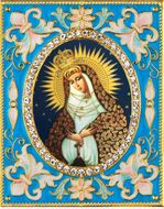 Virgin Mary Ostrobramska,  Enameled Framed Icon Pendant with Stand