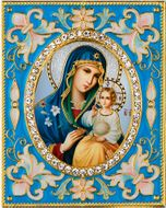 Virgin Mary the Eternal Bloom,  Enameled Framed Icon Pendant with Stand