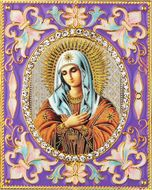 """Virgin Mary """"Extreme Humility"""",  Enameled Framed Icon Pendant with Stand"""