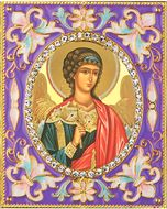 Guardian Angel,  Enameled Framed Icon Pendant with Stand