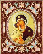 Virgin Mary of Don (Donskaya),  Enameled Framed Icon Pendant with Stand