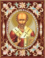 St Nicholas the Wonderworker, Enameled Framed Icon Pendant with Stand