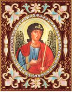 Archangel Michael,   Enameled Framed Icon Pendant with Stand