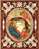 Nativity of Christ,   Enameled Framed Icon Pendant with Stand