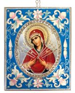 Virgin Mary of Sorrows - Seven Swords,  Enameled Framed Icon Pendant, Silver Frame