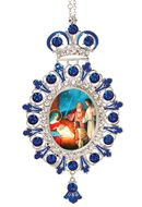 Nativity of Christ, Jeweled  Icon Ornament with Chain