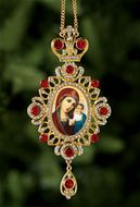 Virgin of Kazan, Jeweled Icon Ornament / Red Crystals