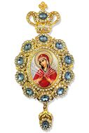 Virgin Mary of Sorrows - Seven Swords,   Jeweled Icon Ornament / Blue Crystals