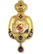 """Virgin Mary """"Seeking of the Lost"""", Enameled Framed Icon Ornament"""