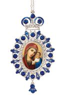 Virgin of Kazan,  Jeweled  Icon Ornament with Chain